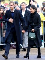 Prince Harry and Meghan Markle are seen during a walkabout at Cardiff Castle on January 18, 2018 in Cardiff, Wales. Picture: Getty