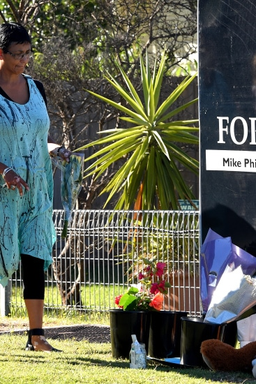 People lay tributes at the Tootgarook home. A MOTHER charged with murdering her eight-year-old son at their Alma street home in Tootgarook. Picture: Nicole Garmston