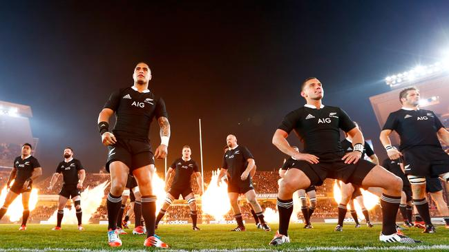 Fireworks were set off at the end of the All Blacks haka.