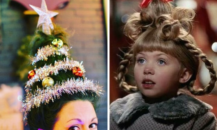 Get lit (up) these holidays with this outrageous Christmas tree hair trend