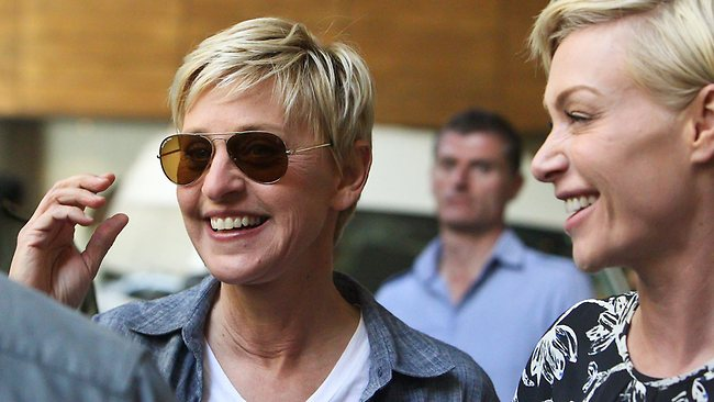 Ellen DeGeneres and her wife Portia de Rossi leave the Grand Hyatt hotal to go to Melbourne Girls Grammer Picture: Scott Chris