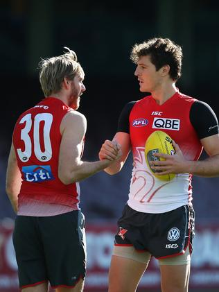 Lewis Roberts-Thomson, pictured here with Kurt Tippett at Swans training, has told teammates of his decision to retire. Picture: Phil Hillyard