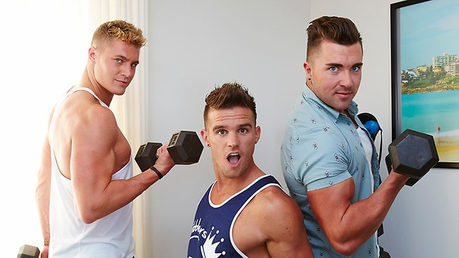 Scotty, Gaz and James in the house gym. Picture: MTV