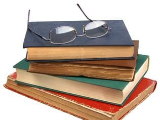 Glasses and books.