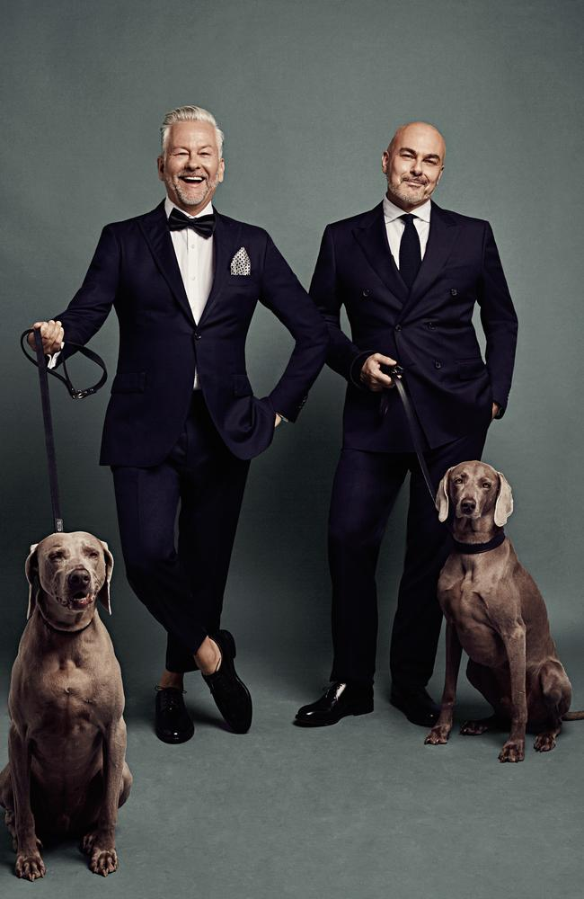 David and Neale with their Weimaraners Ollie and Otis.