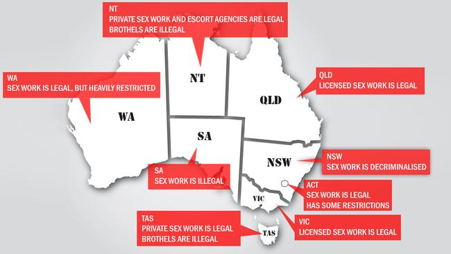 Australia's varying sex industry laws. Picture: news.com.au