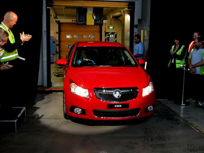 The launch of the Holden Cruze at the Holden factory in Elizabeth, South Australia.