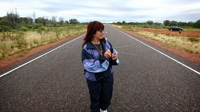Clairvoyant Lorelle Trickett searches for Peter Falconio's body. Picture: Brad...