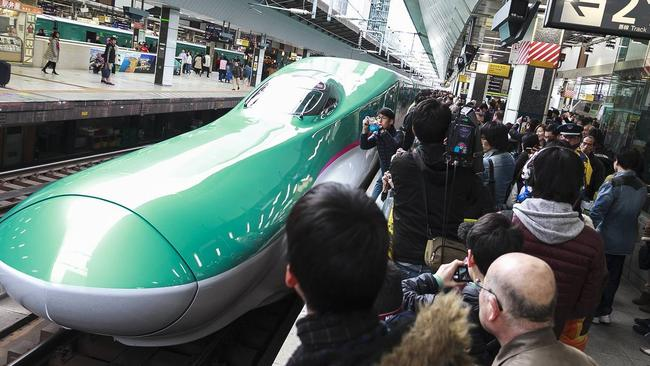 Japan started its first bullet train service to the northern island of Hokkaido last month. Guess when it's going to happen here? Never, says Jason Murphy. Picture: Rodrigo Reyes Marin/Zuma Press