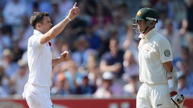 England's James Anderson celebrates the wicket of Peter Siddle on Day 2 of the second Ashes Test at Lord's.