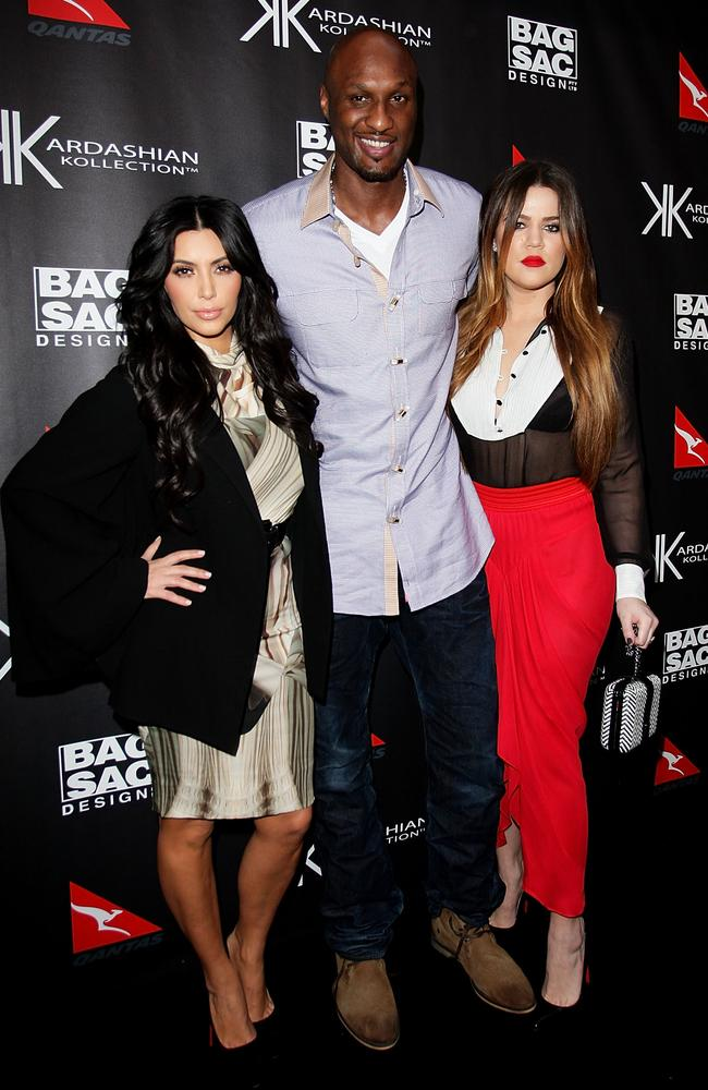 Australian visit ... Kim Kardashian, Khloe Kardashian and Lamar Odom arrive at the Kardashian Kollection Handbag launch at Hugo's on November 2, 2011 in Sydney. Picture: Lisa Maree Williams/Getty Images