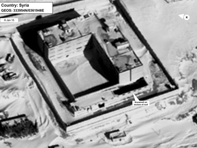 This satellite image allegedly shows a building in a prison complex in Syria, modified to support a crematorium. Picture: State Department/DigitalGlobe via AP
