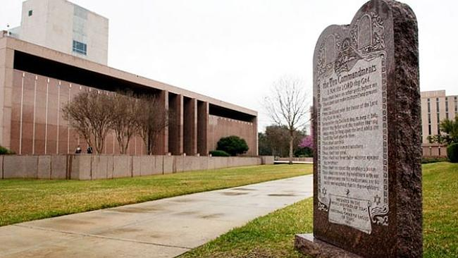 Genesis of dispute ... The 10 Commandments statue erected on the grounds of Oklahoma's state parliament.