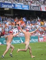 <p>Two rugby fans hit the field stark naked run at 2008 Hong Kong Sevens tournament.</p>