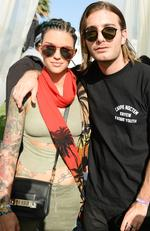 Aussie actress and DJ Ruby Rose, DJ Alessio backstage at a private party at Coachella. Picture: Splash News