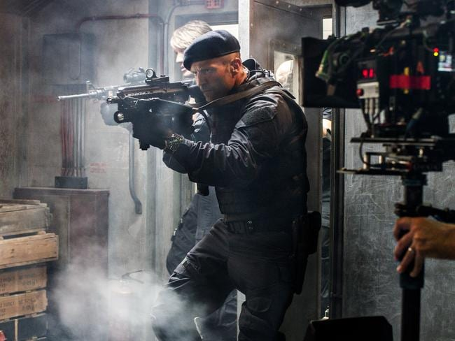 Jason Statham on the set of  <i>The Expendables 3</i>. Picture: Supplied