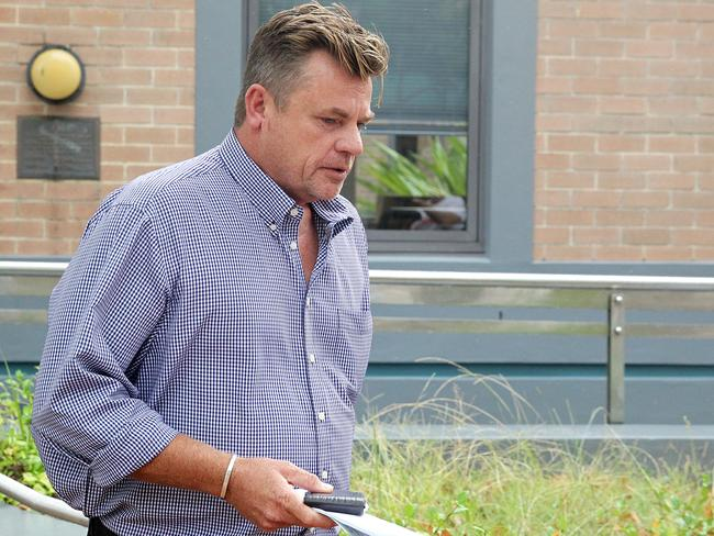 Actor Marty Lynes leaves Wyong Local Court this morning.