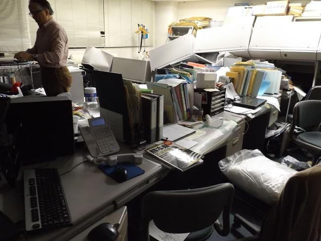 Items lie askew inside the Kyodo News Kumamoto bureau following the 7.0 magnitude earthquake in Kumamoto, southern Japan. Picture: Takuya Okamoto/Kyodo News.