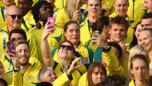 Aussie athletes take selfies. Picture: Adam Head