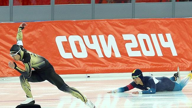 Australian Daniel Greig falls while competing during the Men's 500m Race 1 of 2 Speed Skating event at the Sochi 2014 Winter Olympics.