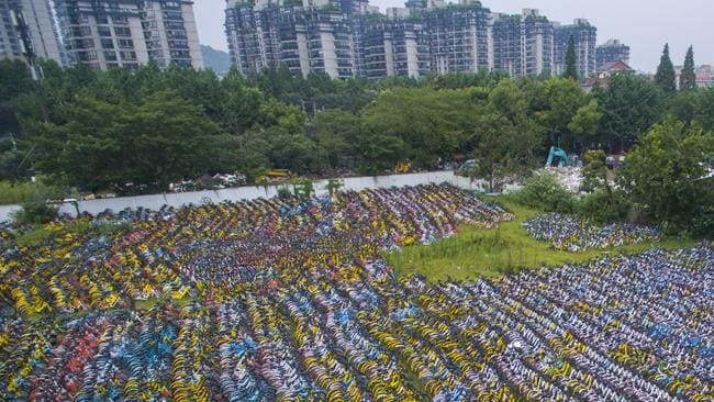 Thousands of sharing bicycles in Hangzhou. Picture: Getty Images