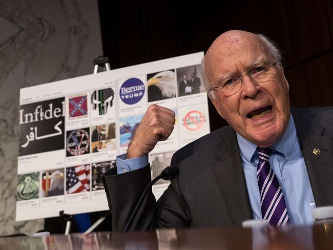 With examples of Russian-created Facebook pages behind him, Sen. Patrick Leahy questions witnesses during a Senate Judiciary Subcommittee on Crime and Terrorism hearing titled 'Extremist Content and Russian Disinformation Online'. Picture: Getty