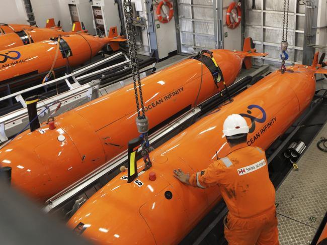 Autonomous Underwater Vehicles (AUVs) which will be put in the ocean to search for the wreckage of the missing plane, MH370. Picture: AP