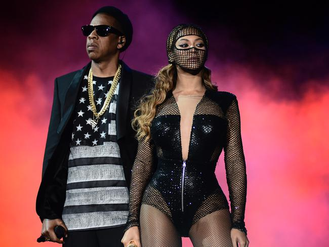 Beyonce and JAY Z perform during the Beyonce and Jay Z On the Run tour in San Francisco.