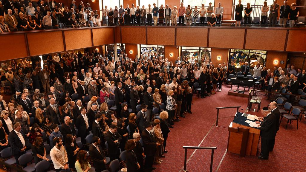 Mourners gathered at Temple Beth Israel Synagogue to remember Ben Cowen. Picture: Supplied