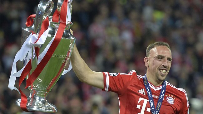 CHAMPIONS LEAGUE final, Bayern Munich 2 d Borussia Dortmund 1 at Wembley. Bayern Munich's Franck Ribery lifts the trophy. Picture: Martin Meissner