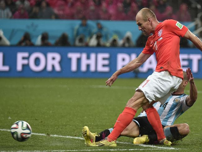 Robben's blocked shot could have won the semi-final for the Netherlands.