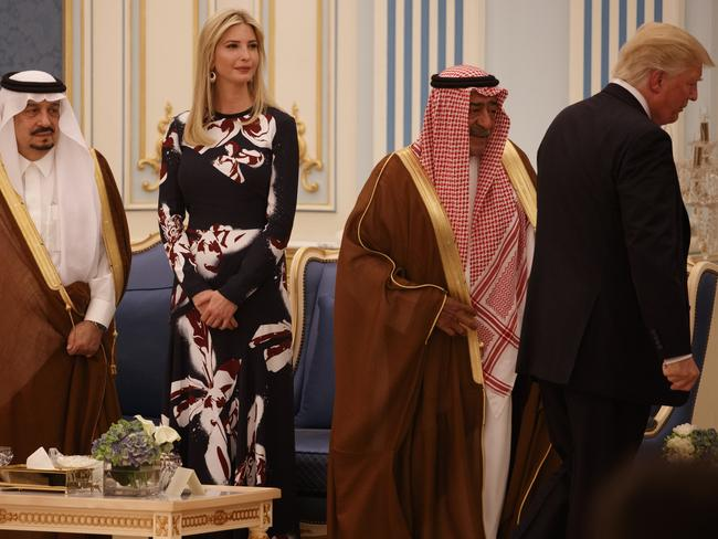 Ivanka Trump watches her father, President Donald Trump, arrive for a presentation ceremony of The Collar of Abdulaziz Al Saud Medal, at the Royal Court Palace, Saturday, May 20, 2017, in Riyadh. Picture: Evan Vucci
