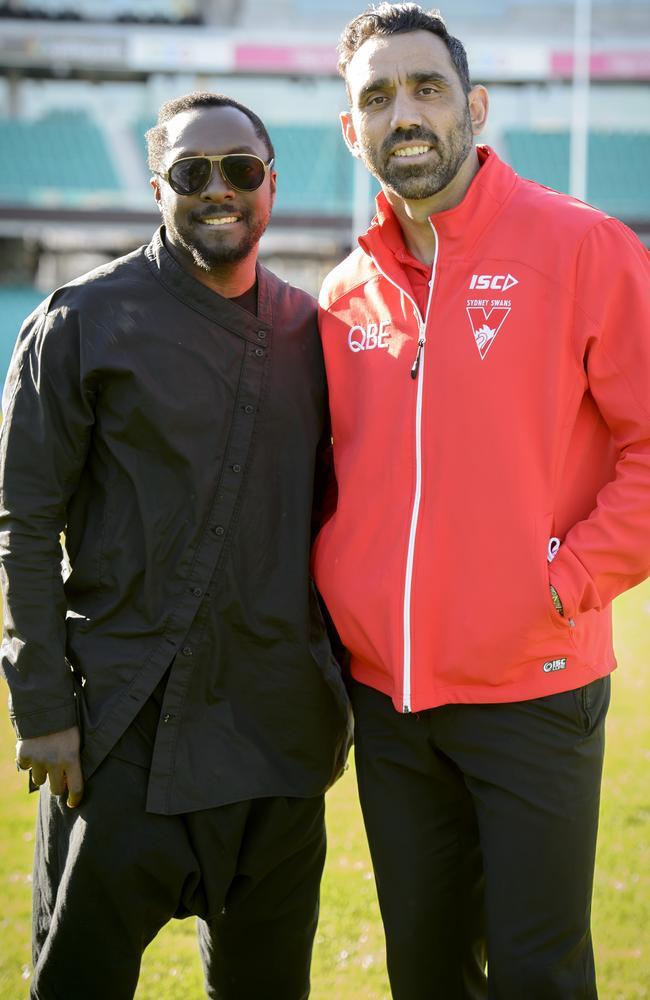 Good mates .... will.i.am and Adam Goodes have developed an unlikely bromance. Picture: Tim Hunter