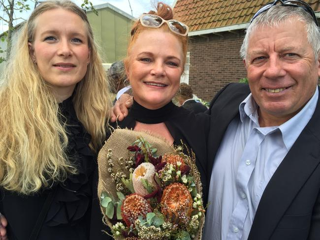 Wilma van Duyn, centre, with husband Jack and cousin Mirjam, at Vijfhuizen. Wilma's sister Yvonne died in the tragedy. Picture: AAP Image/Lloyd Jones