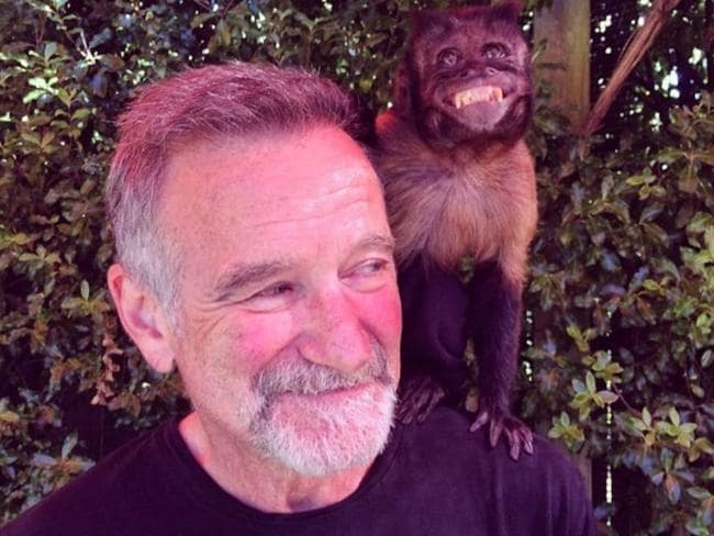 Robin Williams' second last Instagram post of him posing with a monkey he filmed with for 'Night At The Museum 2. Picture: Instagram
