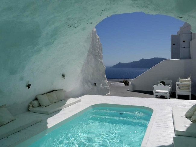 The pool at the Katikies Hotel in Oia, Santorini. Picture: Supplied