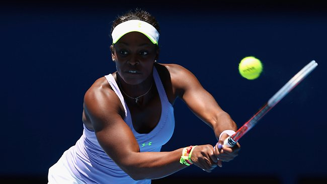 Sloane Stephens faded late in the first set against Serena Williams, dropping it 6-3.