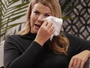 Fiona Falkiner breaks down about weight gain on an episode of 'Tea with Jules'.