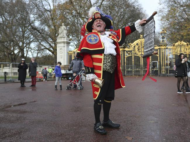 Town Crier Tony Appleton celebrated the royal engagement in London. Picture: Supplied