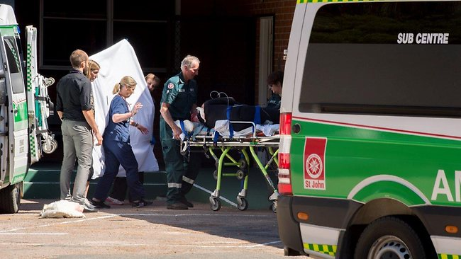 Paramedics hand over a man who was attacked by a shark at Esperance Hospital. The 55-year-old male diver was working about 180km east of Esperance when he was attacked. Picture: Mick Sonneman