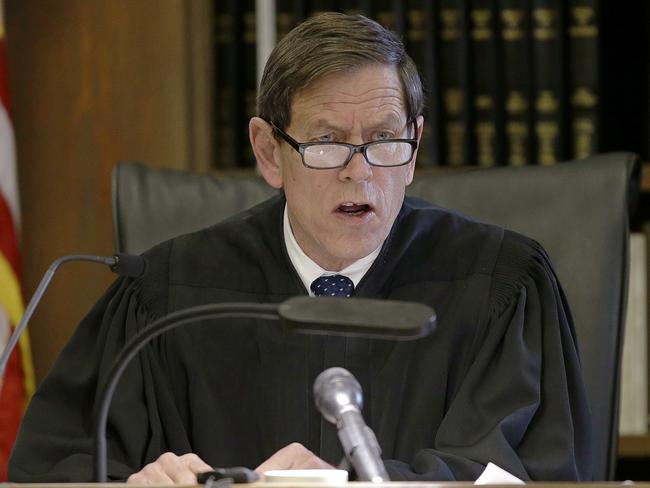 Judge Jeffrey Locke asks the jury a question at the start of the sixth day of jury deliberations in the double murder trial of former New England Patriots tight end Aaron Hernandez. Picture: AP.