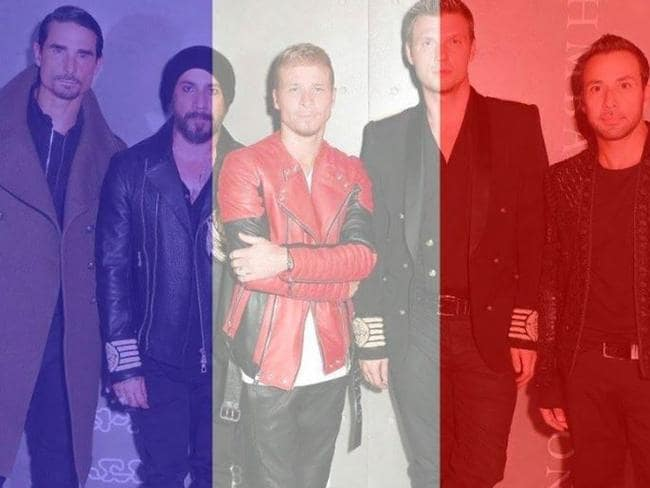 Backstreet Boys show their support by washing their profile picture in blue, white and red. Picture: Facebook.