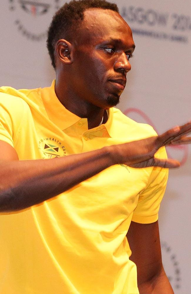 Usain Bolt holds a press conference in Glasgow.