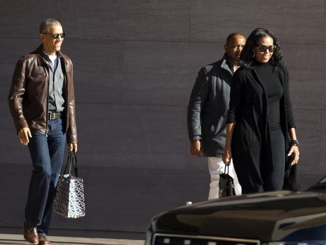 Barack Obama and Michelle Obama outside the National Gallery of Art in Washington. Picture: AP