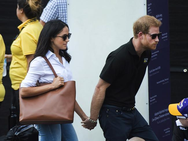Prince Harr and Meghan Markle at the Invictus Games this week. Picture: AP