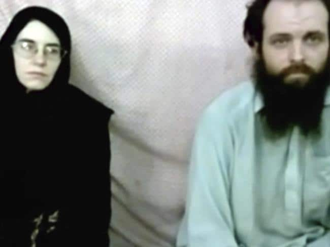 Caitlan Coleman and her husband, Canadian Joshua Boyle in a militant video given to their family. Picture: Coleman family via AP