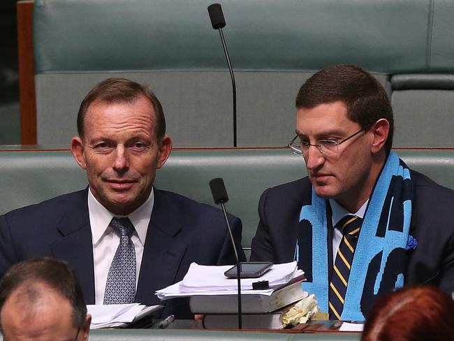 Mr Abbott at Parliament; House with fellow backbencher Julian Leeser. Picture: Kym Smith