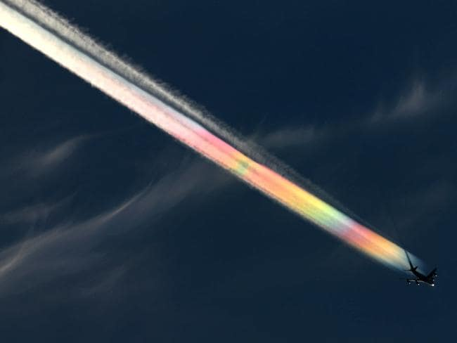 All the colours of a rainbow - created from the aircraft's emissions. Picture: AirTeamImages
