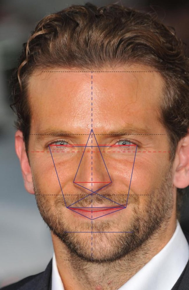 Bradley Cooper is the second most handsome man in the world, according to science. Picture: Dr Julian De Silva