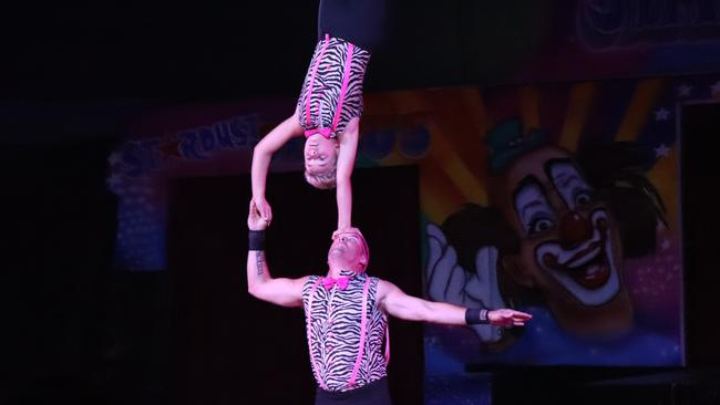 Acrobats perform in the Stardust Circus, in Bathurst, February 1, 2018. Picture: Megan Palin.